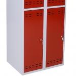 Riidekapp 4 uksega, punane/hall, 1920x700x550