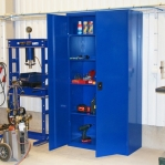 Workshop cabinet 4 shelves 2000x1000x500 RAL 5017 collapsible