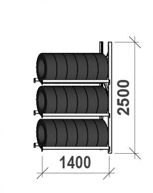 Rehviriiul, jätkuosa 2500x1400x500, 3 korrust, 600kg/tasapind