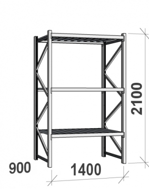 Maxi starter bay 2100x1400x900 600kg/level,3 levels with steel decks