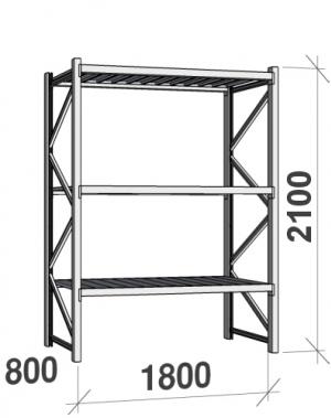 Laoriiul põhiosa 2100x1800x800 480kg/tasapind,3 tsinkplekk tasapinda