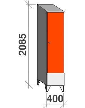 Riidekapp 1x400 2085x400x545, lühike uks, kaldkatusega
