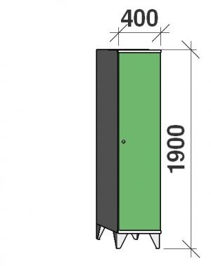 Riidekapp 1x400, 1900x400x545 vaheseinaga