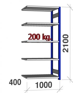 Laoriiul lisaosa 2100x1000x400 200kg/riiuliplaat,5 plaati, sinine/Zn