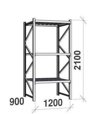 Laoriiul põhiosa 2100x1200x900 600kg/tasapind,3 tsinkplekk tasapinda