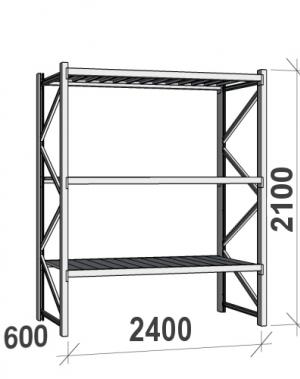 Laoriiul põhiosa 2100x2400x600 300kg/tasapind,3 tsinkplekk tasapinda