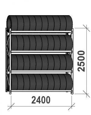 Rehviriiul, põhiosa 2500x2400x500, 4 korrust, 300kg/tasapind