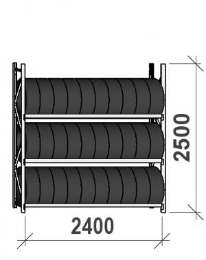 Rehviriiul, põhiosa 2500x2400x500, 3 korrust, 300kg/tasapind