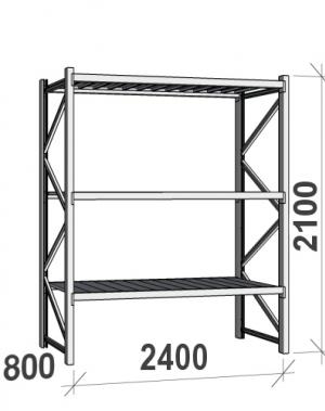 Laoriiul põhiosa 2100x2400x800 300kg/tasapind,3 tsinkplekk tasapinda