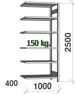 Laoriiul lisaosa 2500x1000x400 150kg/riiuliplaat,6 plaati