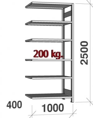 Laoriiul lisaosa 2500x1000x400 200kg/riiuliplaat,6 plaati