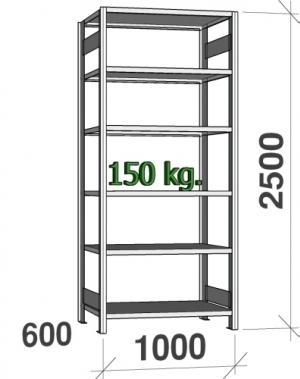 Laoriiul põhiosa 2500x1000x600 150kg/riiuliplaat,6 plaati