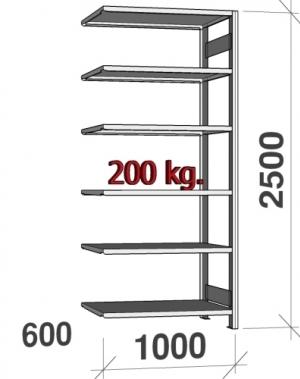 Laoriiul lisaosa 2500x1000x600 200kg/riiuliplaat,6 plaati