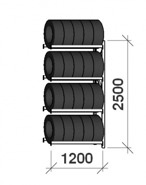 Rehviriiul, jätkuosa 2500x1200x500, 4 korrust, 600kg/tasapind
