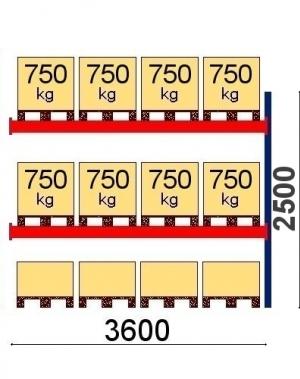 Kaubaaluste riiuli jätkuosa 2500x3600, 750kg/alus,12 EUR alust OPTIMA