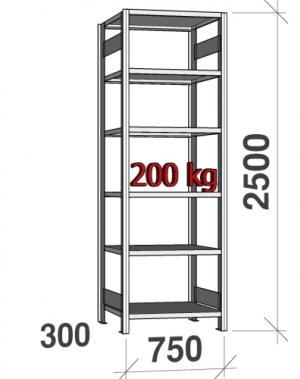 Starter bay 2500x750x300 200kg/shelf,6 shelves