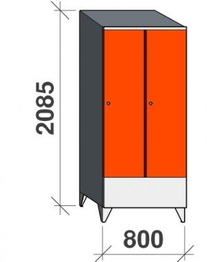 Riidekapp 2x400 2085x800x545, lühike uks, kaldkatusega