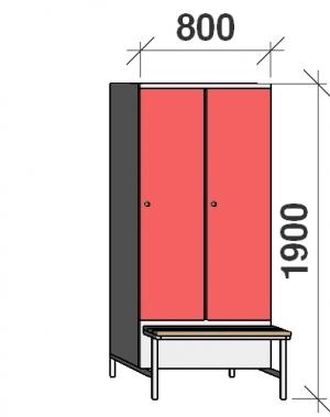Locker with a bench 2x400, 1900x800x830