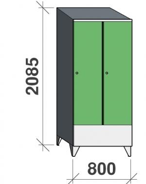 Riidekapp 2x400 2085x800x545, lühike uks, vahesein, kaldkatusega