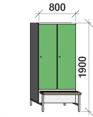 Locker with a bench, 2x400 1900x800x830, sep. wall