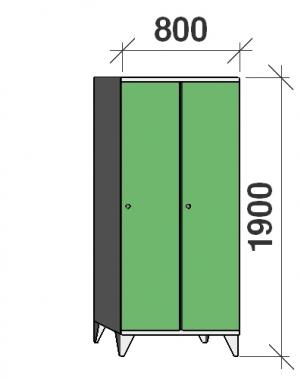 Riidekapp 2x400, 1900x800x545, pikk uks, vahesein