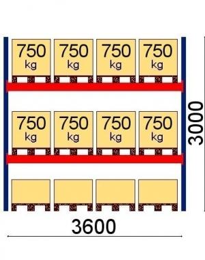 Kaubaaluste riiuli põhiosa 3000x3600, 750kg/alus,12 EUR alust OPTIMA