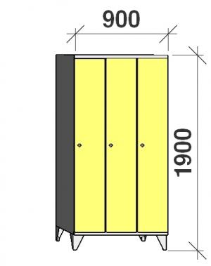 Riidekapp 3x300, 1900x900x545, pikk uks