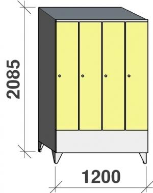 Riidekapp 4x300 2085x1200x545, lühike uks, kaldkatusega