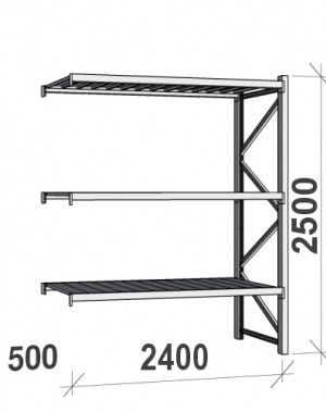 Laoriiul jätkuosa 2500x2400x500 300kg/tasapind,3 tsinkplekk tasapinda