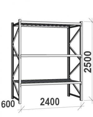 Laoriiul põhiosa 2500x2400x600 300kg/tasapind,3 tsinkplekk tasapinda