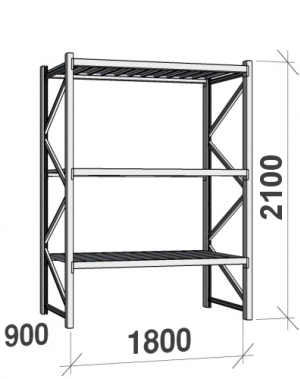 Maxi starter bay 2100x1800x900 480kg/level,3 levels with steel decks