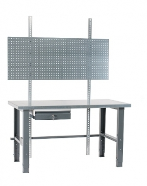 Töölaud 1500x800 + sahtli, perfoseina ja värvitud jalgadega