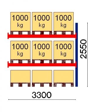 Kaubaaluse riiul lisaosa 2550x3300 1000kg/alus,9 alust