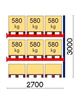 Kaubaaluse riiul lisaosa 3000x2700 580kg/alus,9 alust