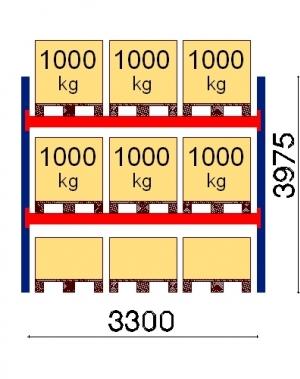 Kaubaaluse riiul põhiosa  3975x3300 1000kg/alus,9 alust