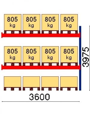 Kaubaaluse riiul lisaosa 3975x3600 805kg/alus,12 alust