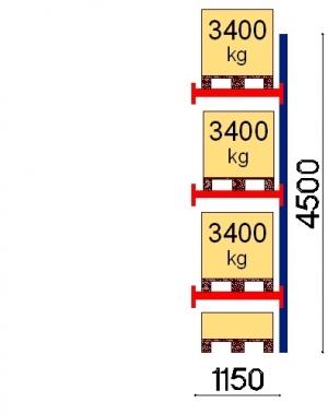 Kaubaaluse riiul lisaosa 4500x1150 3400kg/alus,4 alust