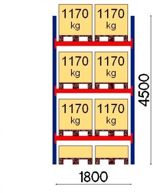 Kaubaaluse riiul põhiosa 4500x1800 1170kg/alus,8 alust