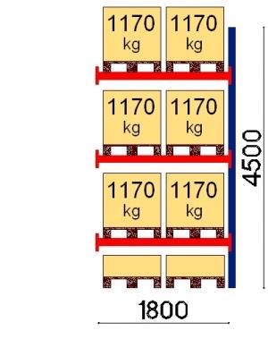 Kaubaaluse riiul lisaosa 4500x1800 1170kg/alus,8 alust