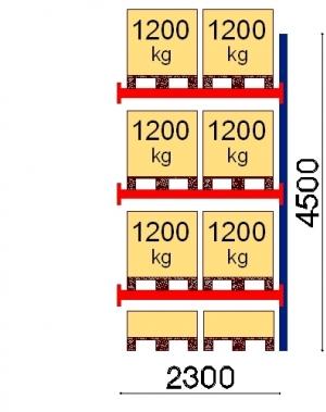 Kaubaaluse riiul lisaosa 4500x2300 1200kg/alus,8 alust