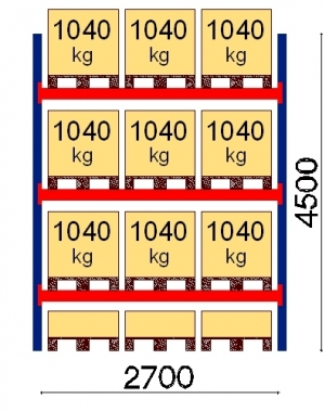 Kaubaaluse riiul põhiosa 4500x2700 1041kg/alus,12 alust
