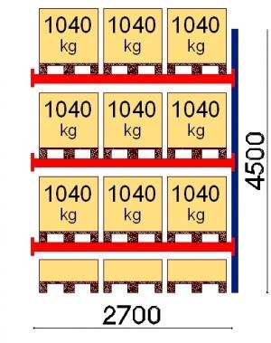 Kaubaaluse riiul lisaosa 4500x2700 1041kg/alus,12 alust