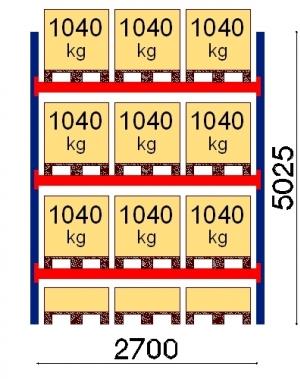 Kaubaaluse riiul põhiosa 5025x2700 1041kg/alus,12 alust