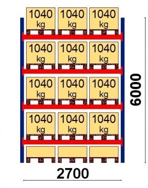Kaubaaluse riiul põhiosa 6000x2700 1041kg/alus,15 alust