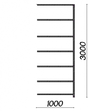 Extension bay 3000x1000x400 150kg/shelf,7 shelves, used