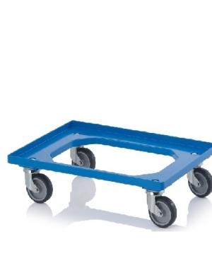 Kastikäru ABS-plastist 620x420x100mm, sinine hallist kummist rattad