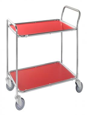 Shelf trolley, galv/red 1020x555x965mm, 250kg