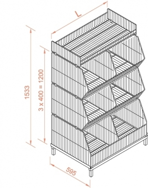 Korvriiul 1182x595x1533, 4 korrust, hõbedane värv, jalgadel