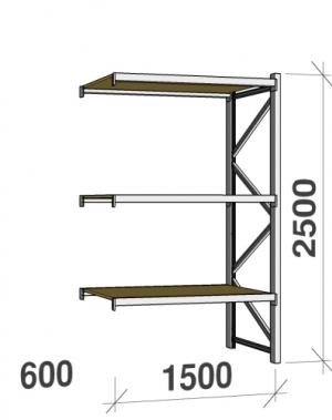 Metallriiul lisaosa 2500x1500x600 600kg/tasapind,3 puitlaast tasapinda