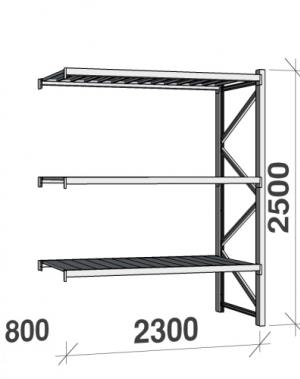 Metallriiul lisaosa 2500x2300x800 350kg/tasapind,3 tsinkplekk tasapinda